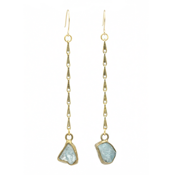Aqua Duster Earrings In Brass