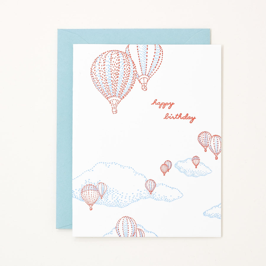 Birthday Hot Air Balloons Letterpress Card