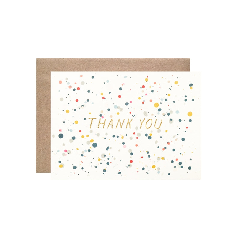 Thank You Splatter with Gold Glitter Foil Card Set Of 8