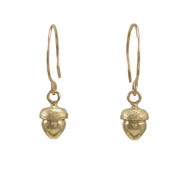 Fallen Acorn Earrings In 14k Gold