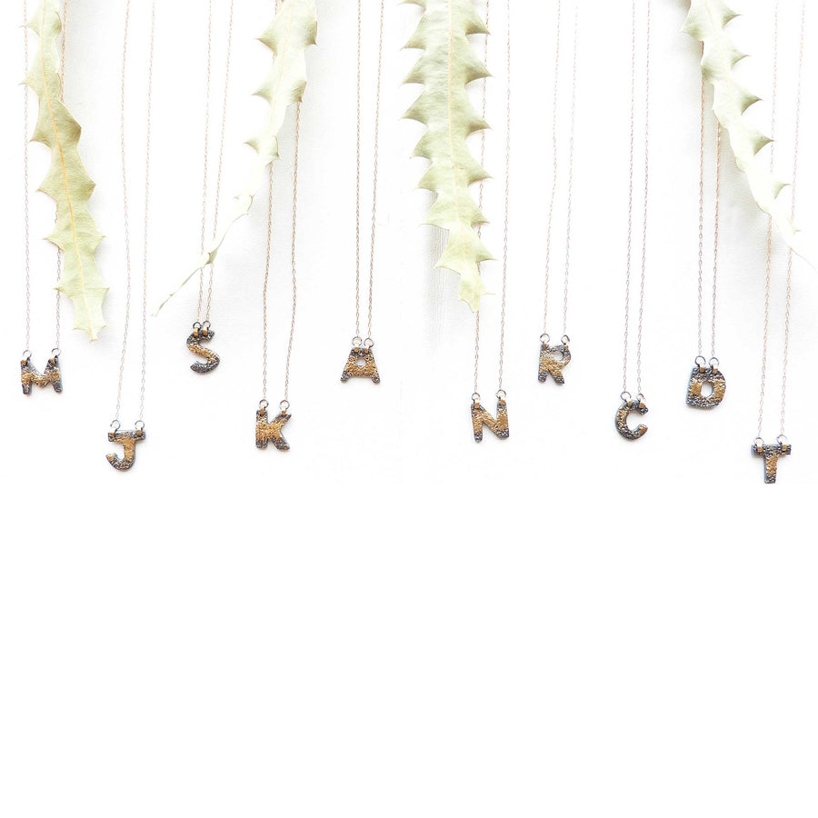 Alphabet Necklaces - 22k Gold + Oxidized Silver