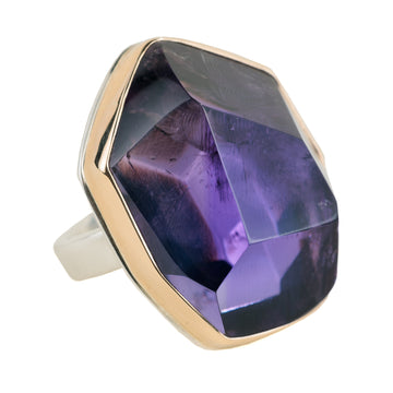 Amethyst Ring - Sterling Silver + 14k Gold