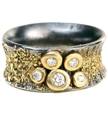 Aspen Bauble Ring - 18k gold, Oxidized Silver + Reclaimed Diamonds