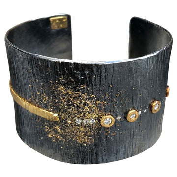 Aspen Statement Cuff - 22k/18k gold, Oxidized Silver + Reclaimed Diamonds