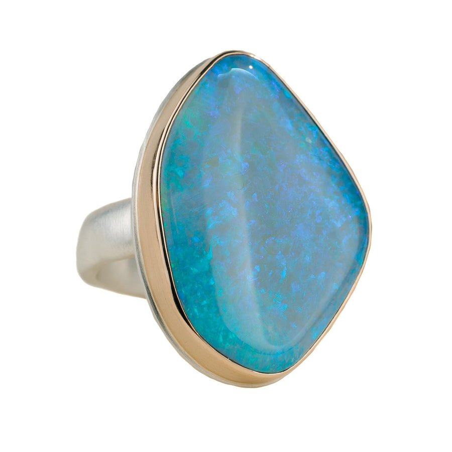 Australian Opal Ring - Sterling Silver + 14k Gold