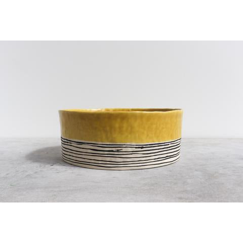Striped Pinched Serving Bowl  - Ceramics