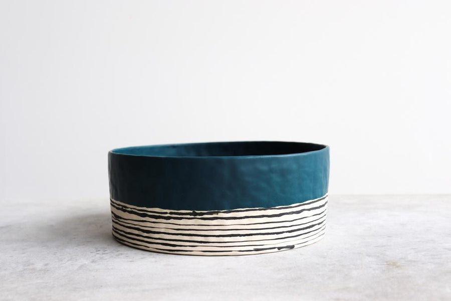 Striped Pinched Serving Bowl - Deep Ocean