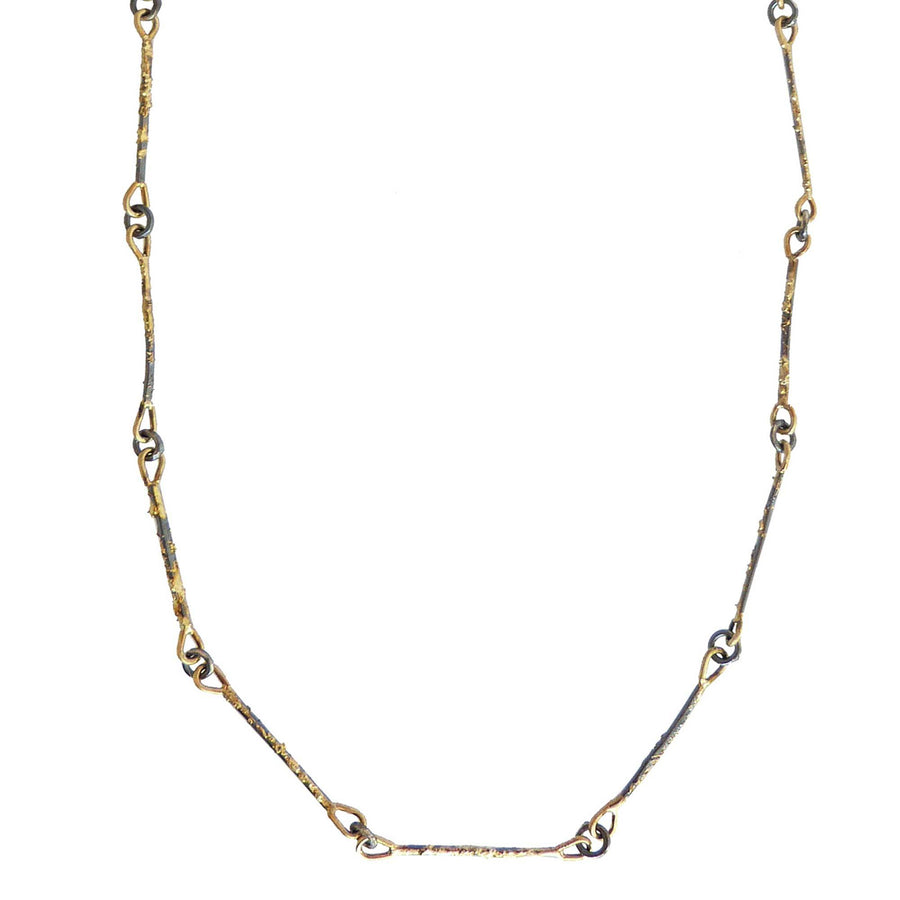 Dusted Bar + Link Necklace - 22k/18k Gold + Oxidized Silver