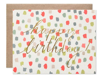 Happy Birthday Colored Dots + Glitter Foil Card