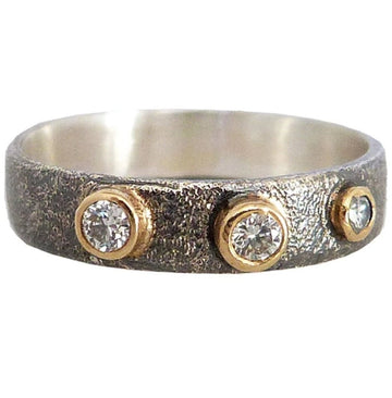 Black + Gold Terra Band - 18k Gold, Oxidized Silver + Reclaimed Diamonds
