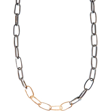 Heavyweight Black + Gold Chain Necklace - 22k/18k gold, Oxidized Silver