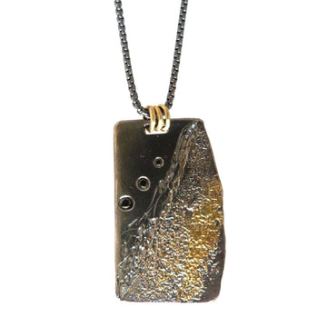 Boulder Necklace - 22k Gold, Oxidized Silver + Black Diamonds