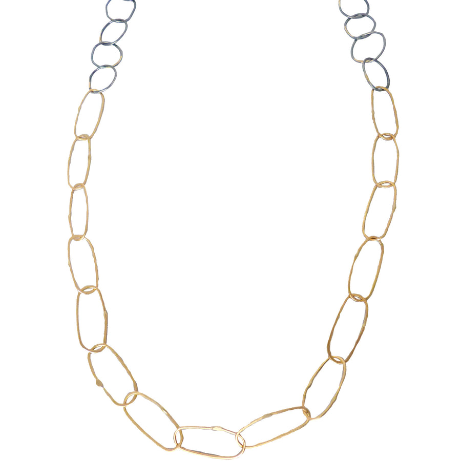 Breezy Chain Link Necklace - 18k Gold + Oxidized Silver
