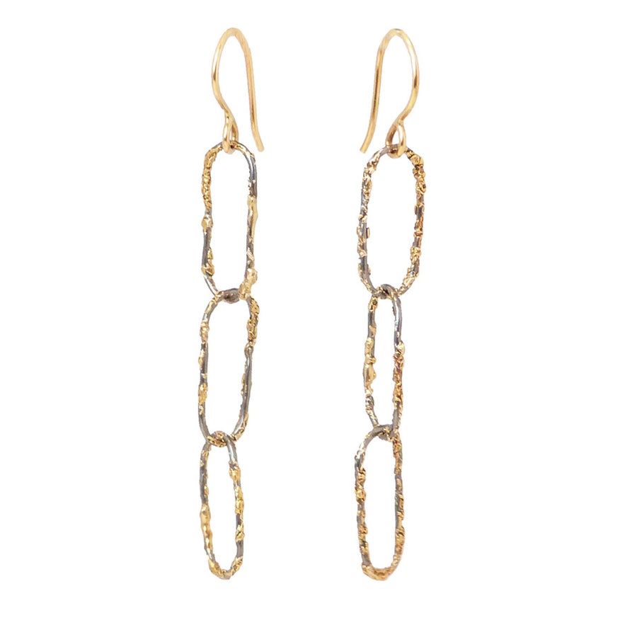 Dusted Chain Link Earrings - 22k/18k Gold + Oxidized Silver
