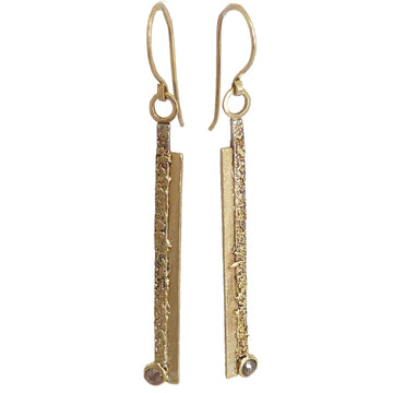 Gold Slice Earrings w/ Colored Diamonds - 22k/18k Gold, Oxidized Silver + Colored Diamonds