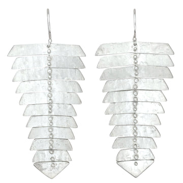 Fishbone Dangle Earrings In Sterling Silver