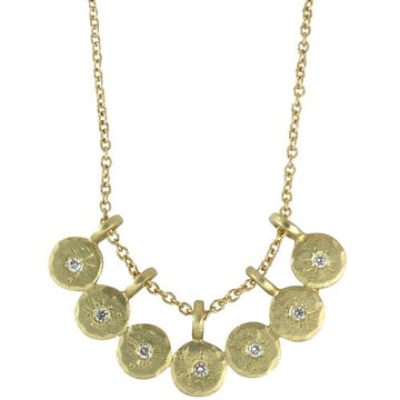 Treasure Coin Bib Necklace - 14ky Gold + Diamonds