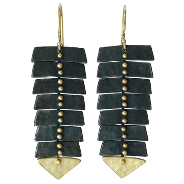 Slim Fishbone Two-Tone Dangle Earrings In 14k Gold & Silver