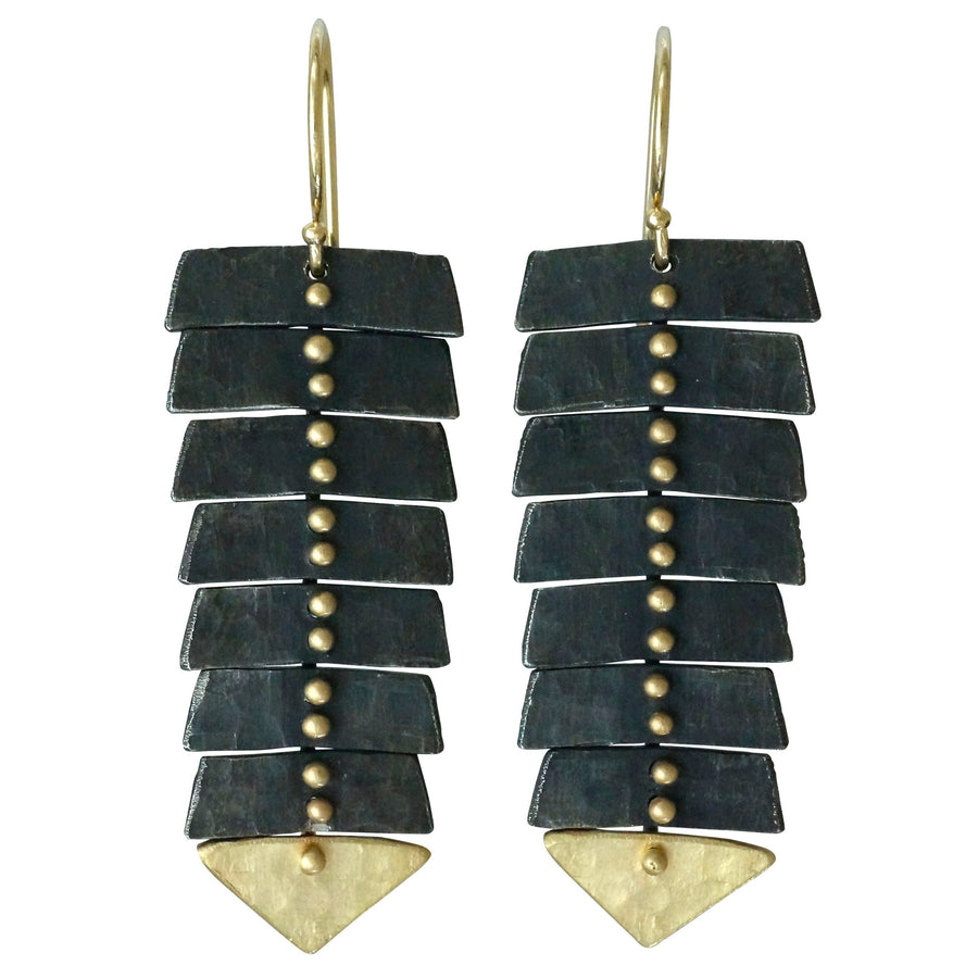 Slim Fishbone Two-Tone Earrings - 14k Gold + Silver