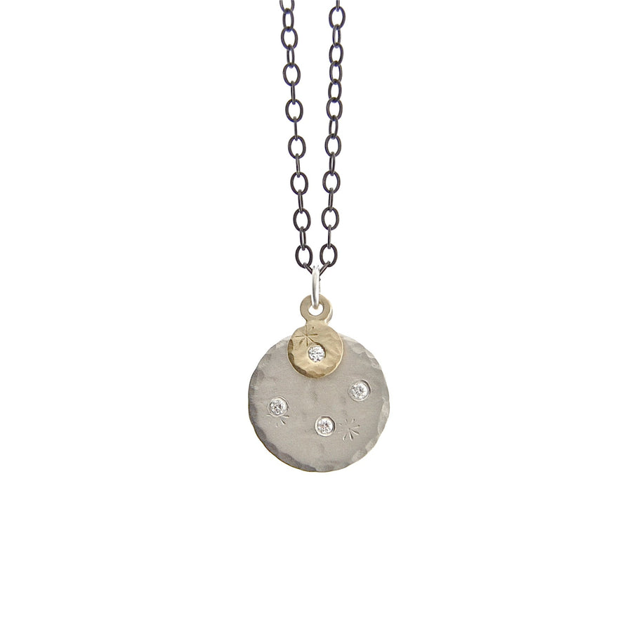 Double Treasure Coin Necklace - 14k Gold + Diamonds