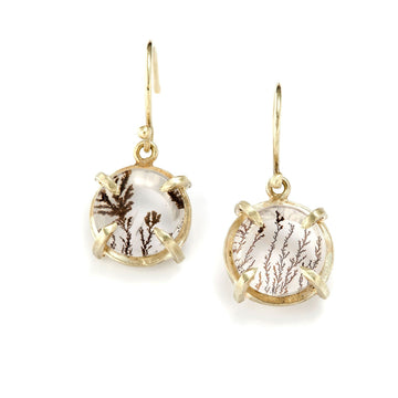 Dendritic Quartz Earrings In 14k Gold