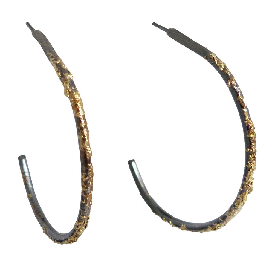 Gold Dust Hoops - 22k Gold Fused with Oxidized Silver