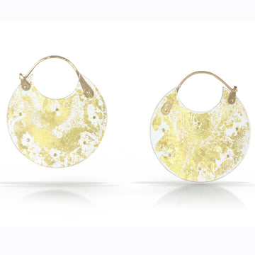 Gold Leaf Encasement Hoop Earrings