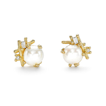 Pearl and Baguette Diamond Studs - 18k Gold, Freshwater Pearl + Diamonds