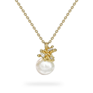 Pearl and Baguette Diamond Encrusted Pendant - 18k Gold, Freshwater Pearl + Diamonds