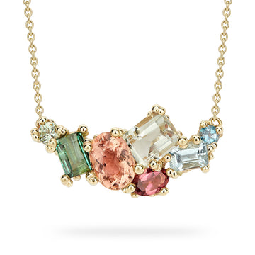 Encrusted Sapphire and Tourmaline Bar Necklace - 14k Gold, Green Sapphire, Pink Tourmaline + Aquamarine