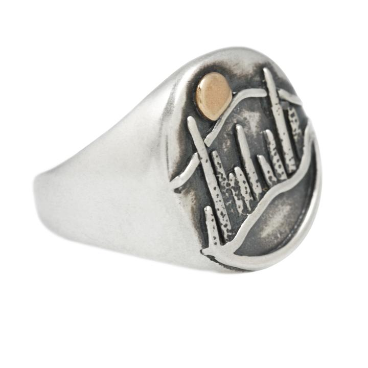 Moonrise Signet Ring In Silver & Gold