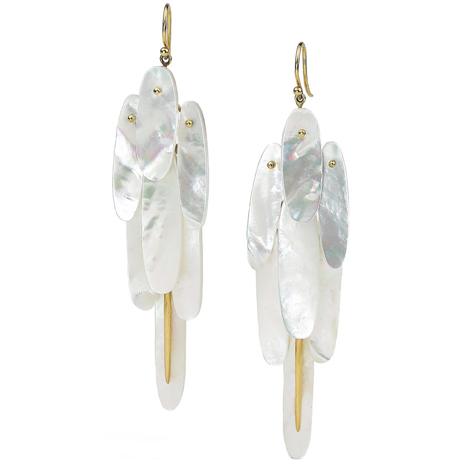 Full Tail Feather Earrings - 18k gold + Mother of Pearl