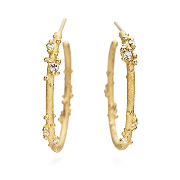 Diamond Encrusted Gold Hoops - 18k Gold + Diamonds
