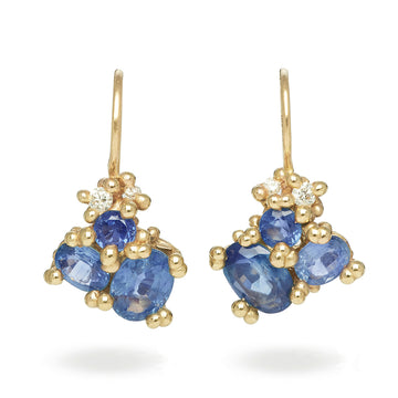 Sapphire Cluster Drops with Diamonds - 14k Gold, Sapphires + Diamonds