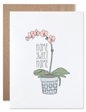 """Home Sweet Home"" Orchid Card"