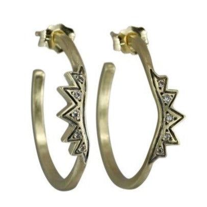 Sunburst Hoop Earrings - 14k Gold + Diamonds