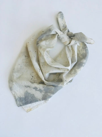 Organic Cotton Bandana Dyed and Painted with Gold Mica Textile