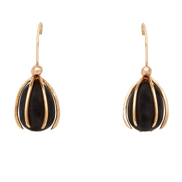 Cage Bronze Obsidian Earrings