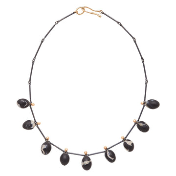Nero Black Egg Clay Necklace In Silver & Bronze