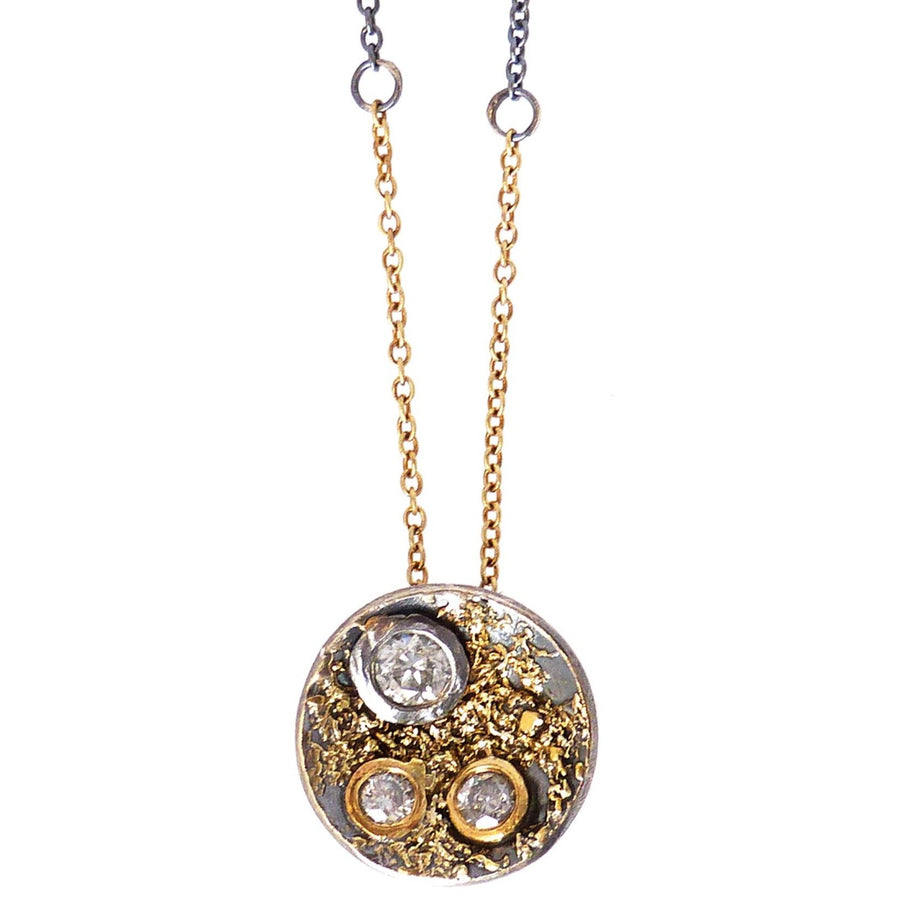 Jolene Necklace - 22k/18k Gold, Oxidized Silver + Reclaimed Diamonds
