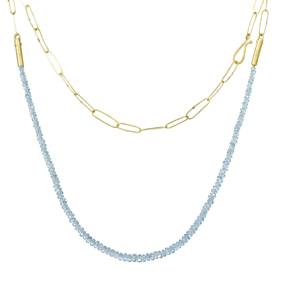 Pale Blue Sapphire Beads Necklace - 18k