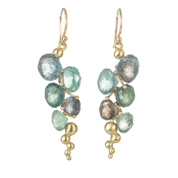 Small Caviar Earrings - 14k Gold + Moss Aquamarine
