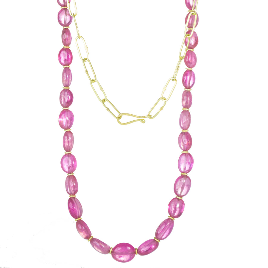 Pink Sapphire Beads Cabochon Cut Link Necklace - 18k