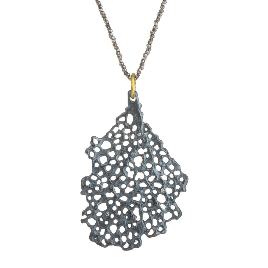 Medium Koraru Pendant - Oxidized Silver with White Sapphires on Steel Cut Bead Chain