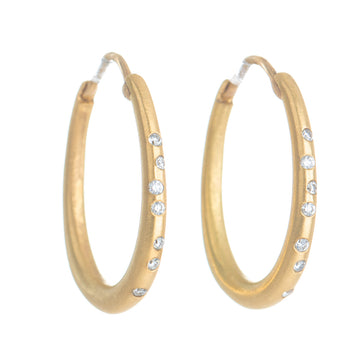 Oval Hoop Earrings -  18k Yellow Gold with White Diamonds