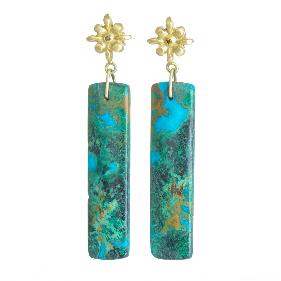 Lily Chrysocolla Earrings - 18k Gold + Diamond