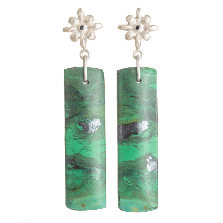 Lily Chrysocolla Earrings - Sterling Silver + Black Diamond