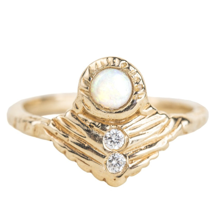 OOAK Journey Shield Ring - Opal, Diamonds + 14k Gold