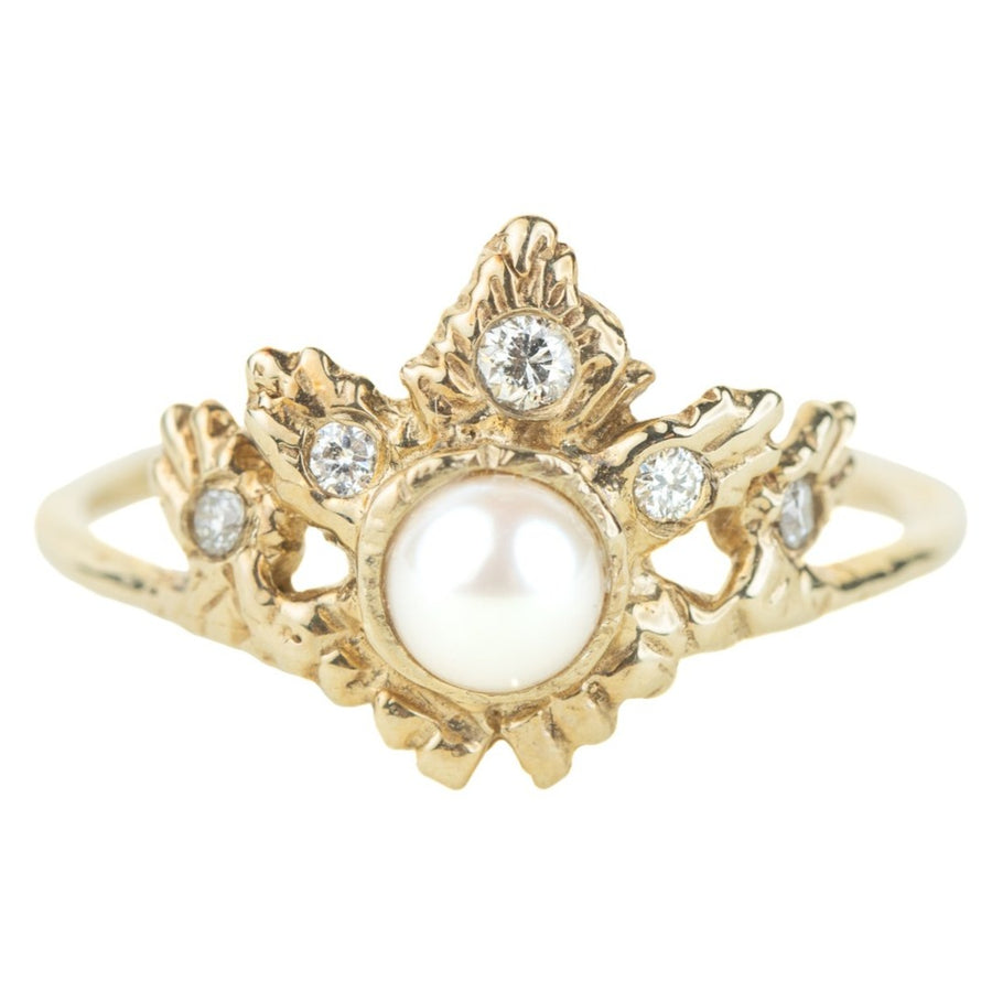 OOAK Rapture Ring - Pearl, Diamonds + 14k Gold