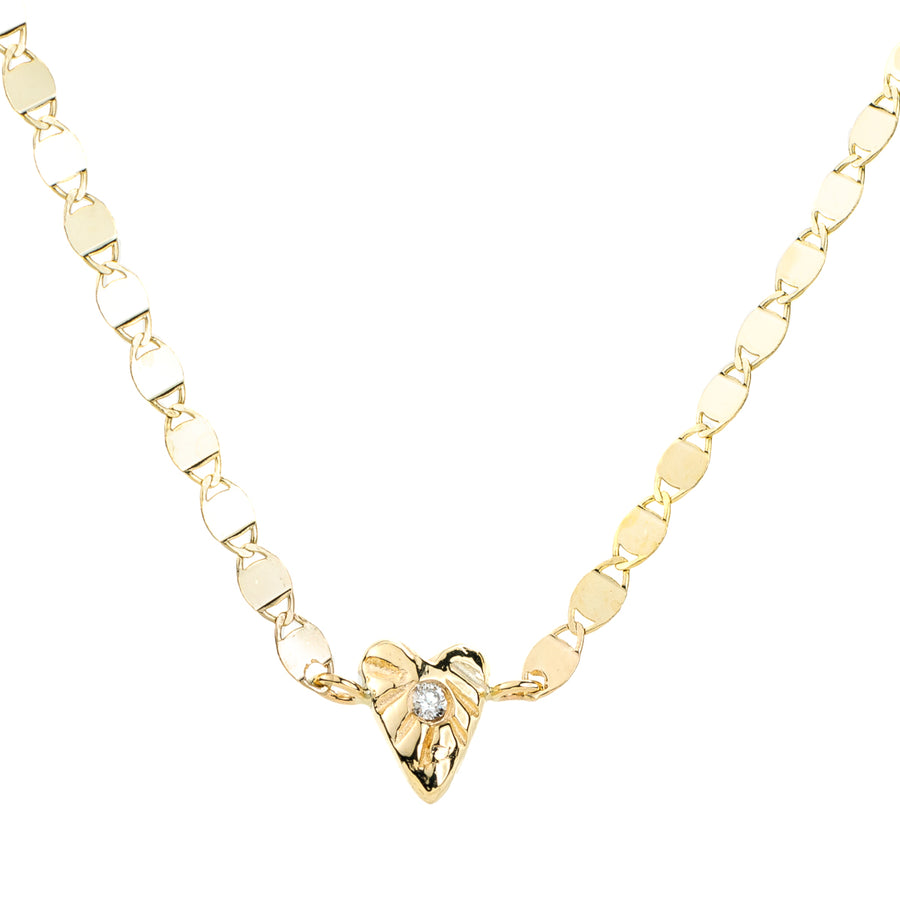 Divine Heart Necklace - Diamond + 14k Gold